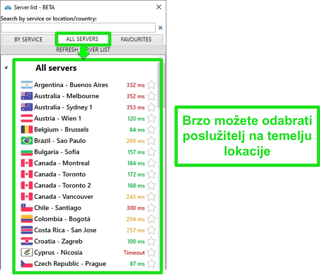 Snimka zaslona lokacija poslužitelja PrivateVPN na popisu