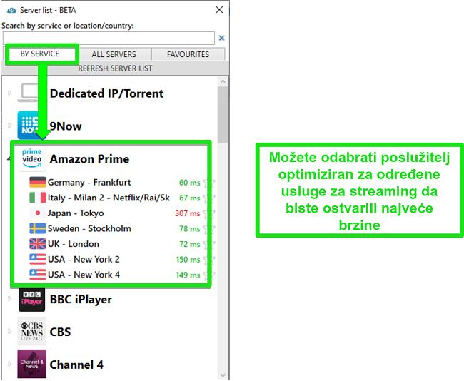 Snimka zaslona opcija poslužitelja za streaming za PrivateVPN