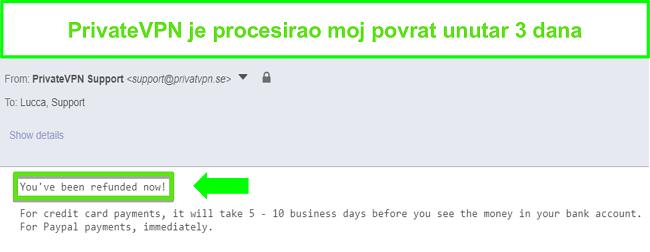 Snimka zaslona odgovora PrivateVPN-a nakon obrade povrata