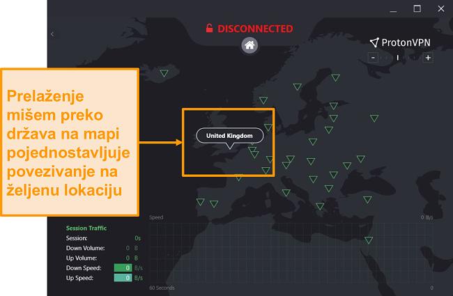 Snimka zaslona interaktivne mape poslužitelja ProtonVPN-a.