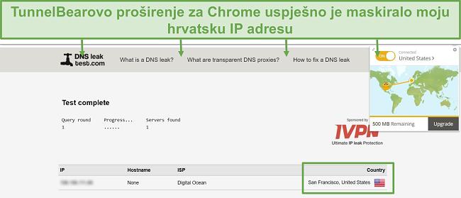 Snimka zaslona rezultata ispitivanja curenja DNS-a kada je spojen na TunnelBear.