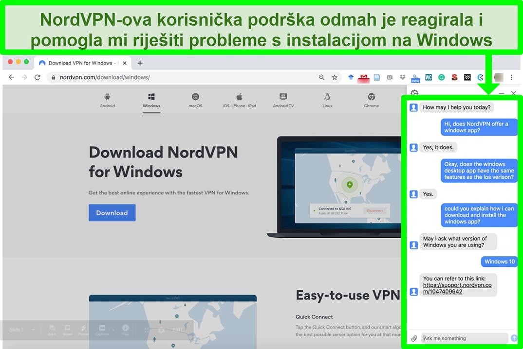 Snimka zaslona NordVPN-ove korisničke službe koja pomaže u procesu instalacije sustava Windows.