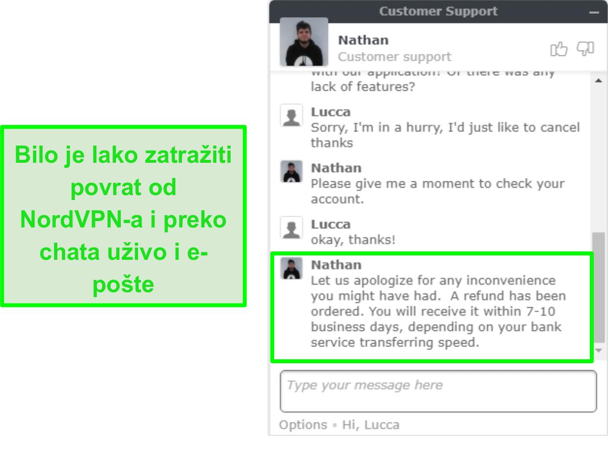Snimka zaslona zaslona za povrat novca koji je pokrenut i odobren putem korisničke podrške za chat putem NordVPN-a