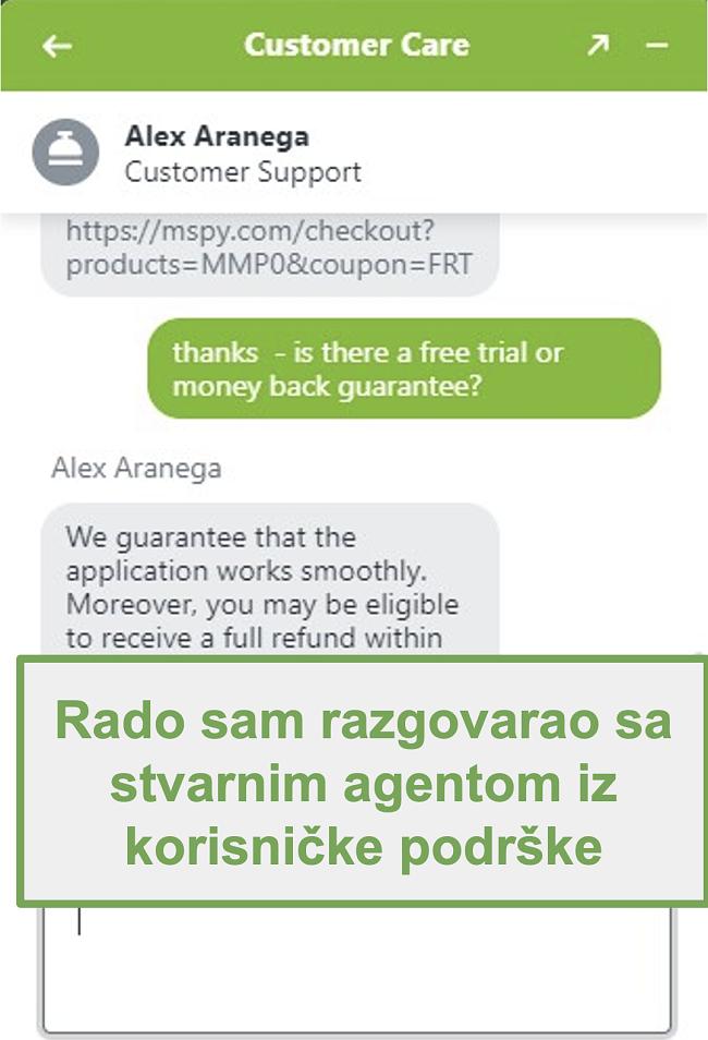 Snimka zaslona chata s pravim agentom za korisničku podršku
