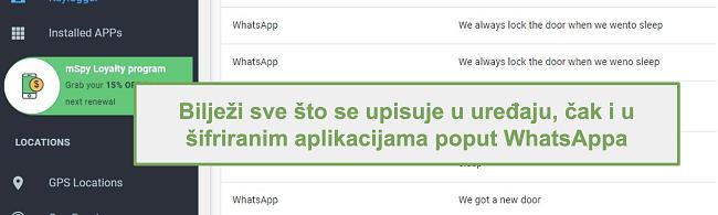 Snimka zaslona zapisnika iz šifriranih aplikacija poput WhatsAppa