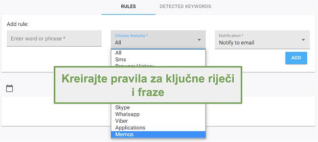 Snimak zaslona pravila za ključne riječi i fraze