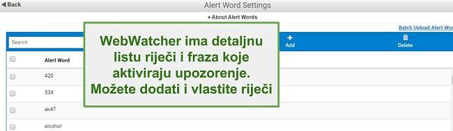 Snimka zaslona riječi upozorenja Webwatchera