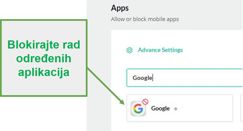Mobicip blokira aplikacije
