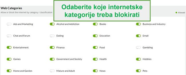 Mobicip web kategorije
