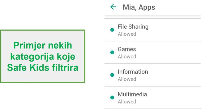 Kategorije filtara Safe Kids