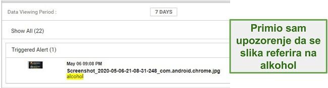 Snimka zaslona upozorenja WebWatcher sa slika