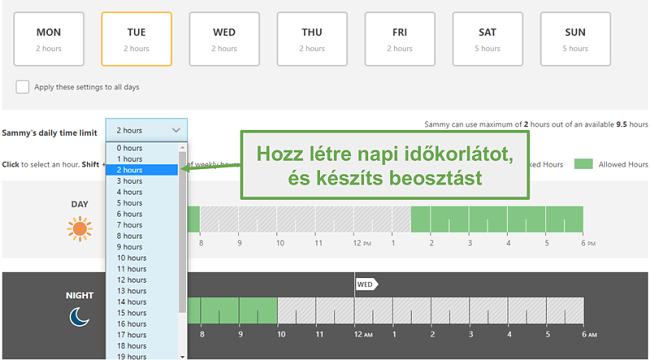 Időhatárokat állíthat be a Norton Family alkalmazással