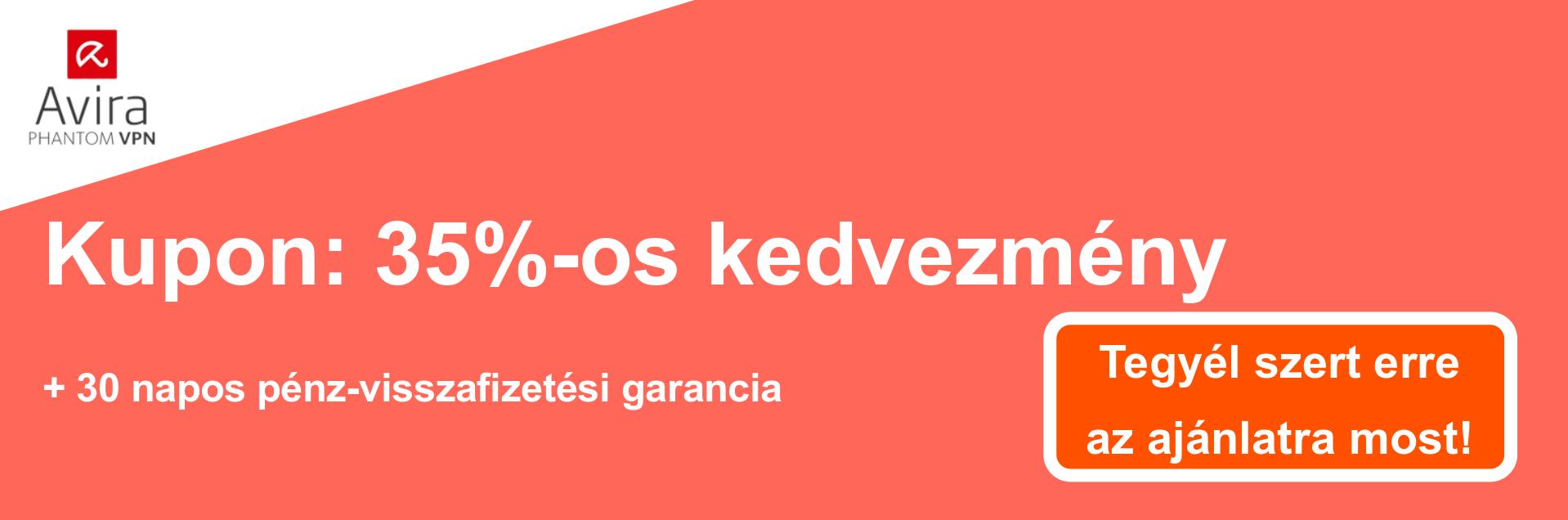 AviraVPN szelvény banner - 35% kedvezmény
