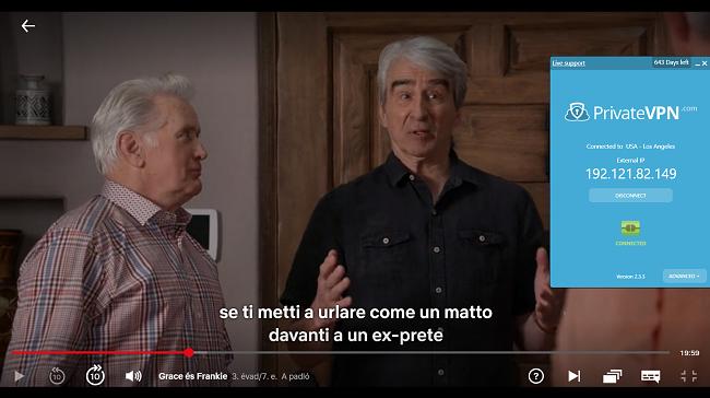 Pillanatkép az amerikai szerverhez csatlakozó PrivateVPN-ről a Grace és Frankie streaming segítségével a Netflix US-on