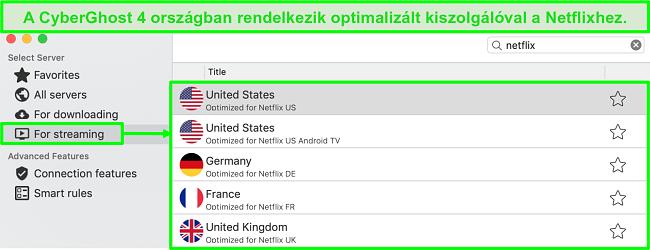 A CyberGhost alkalmazás felületéről készült képernyőkép, amely a Netflix streamingre optimalizált kiszolgálóit mutatja