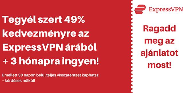 ExpressVPN kupon 49% kedvezménnyel és 3 hónapig ingyenes, 30 napos pénz-visszafizetési garanciával