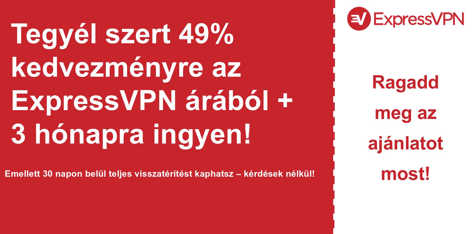 Az ExpressVPN fő kupon szalaghirdetésének grafikonja, amely 49% kedvezményt mutat