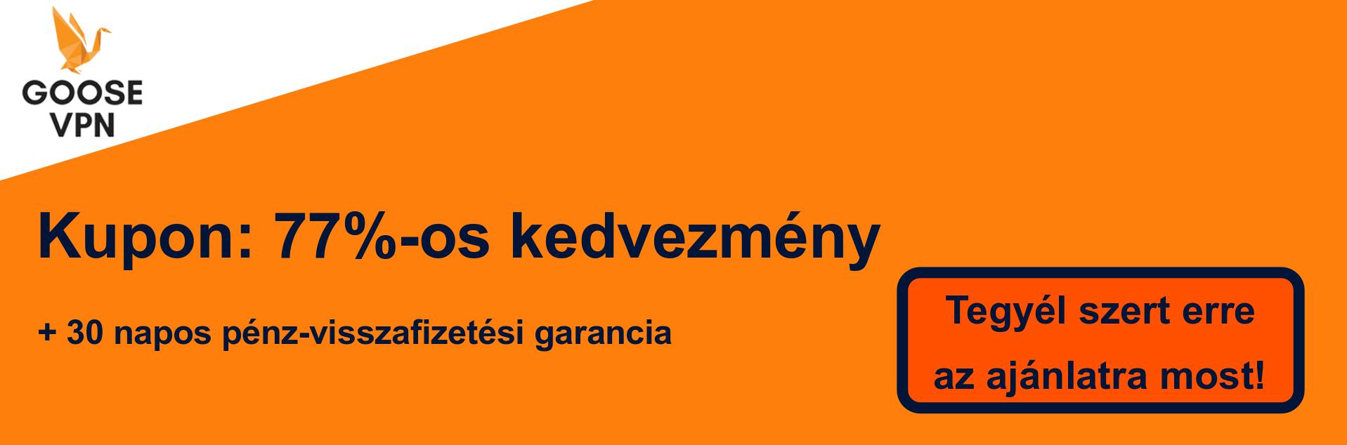 GooseVPN szelvény banner - 77% kedvezmény