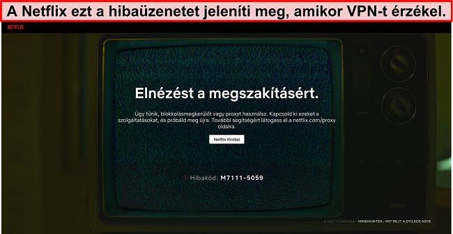 A Netflix hibaüzenet képernyőképe VPN, proxy vagy blokkoló használatakor - Hibakód: M7111-5059