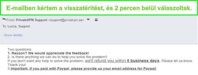 Pillanatkép a PrivateVPN-ről, amely e-mailben gyorsan válaszol a visszatérítési kérelemre