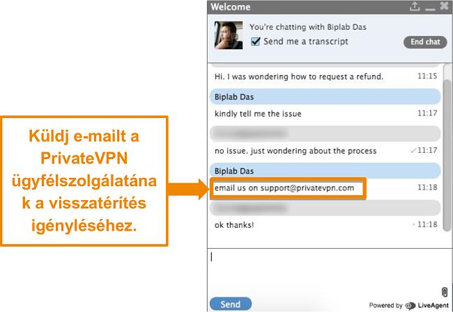 Pillanatkép egy PrivateVPN élő chat ügynökről, amely utasításokat ad a visszatérítési kérelem e-mailben történő küldésére