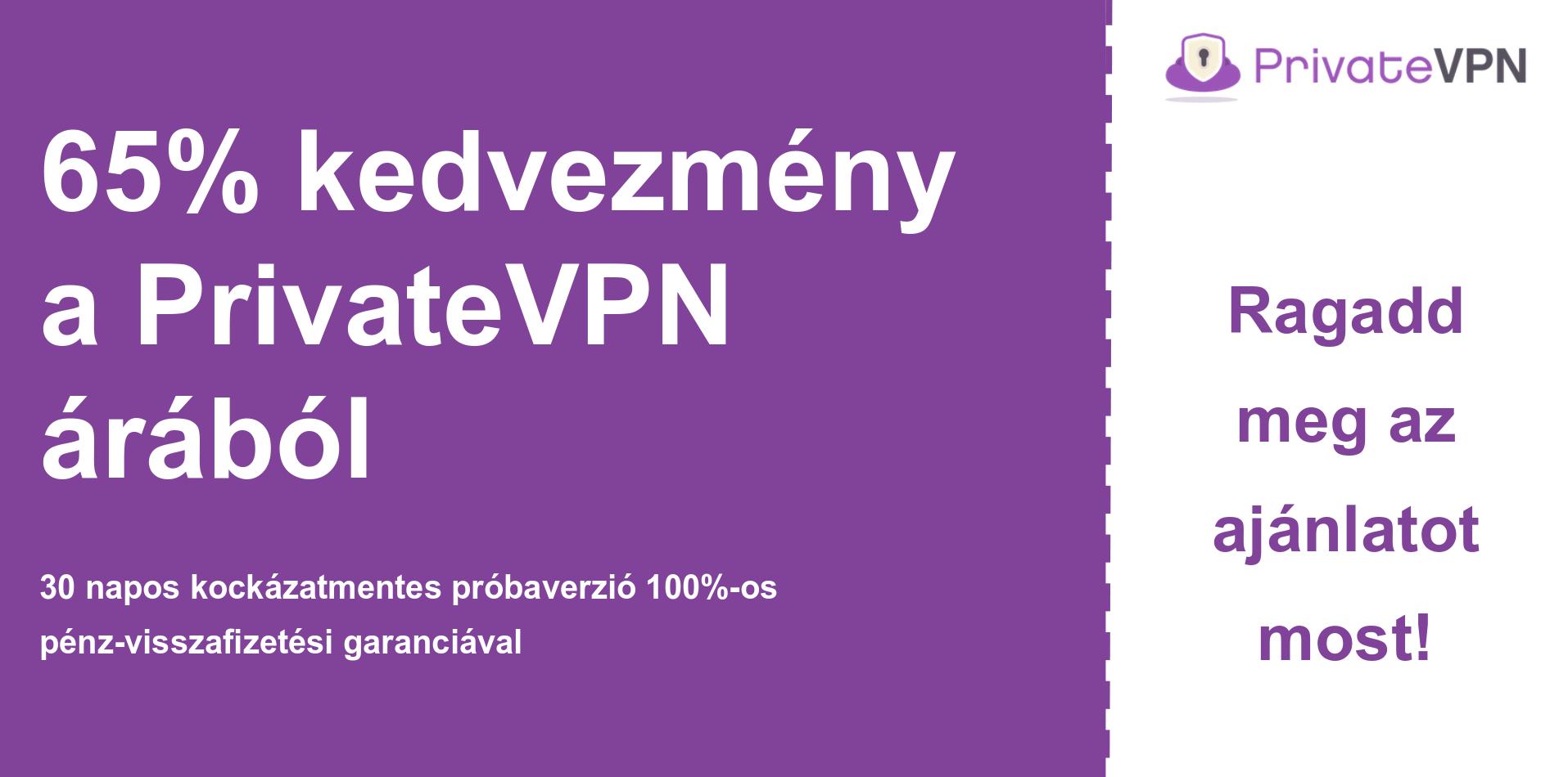 A PrivateVPN fő kupon szalaghirdetésének képe, amely 65% kedvezményt mutat
