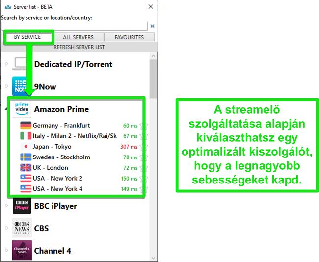 Képernyőkép a streaming szerver beállításairól a PrivateVPN számára