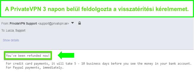 Pillanatkép a PrivateVPN válaszáról a visszatérítés feldolgozása után