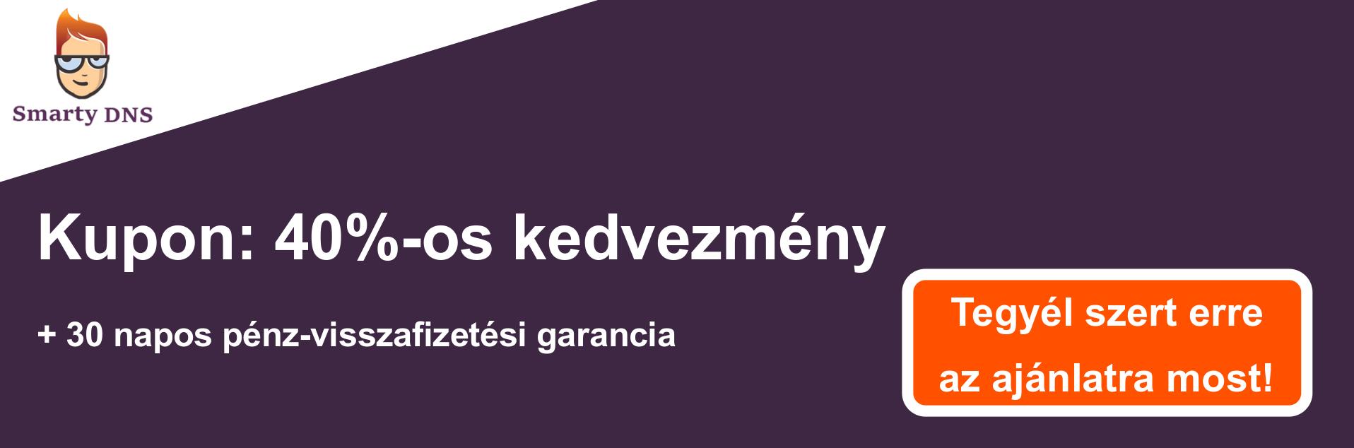 SmartyDNS szelvény banner - 40% kedvezmény