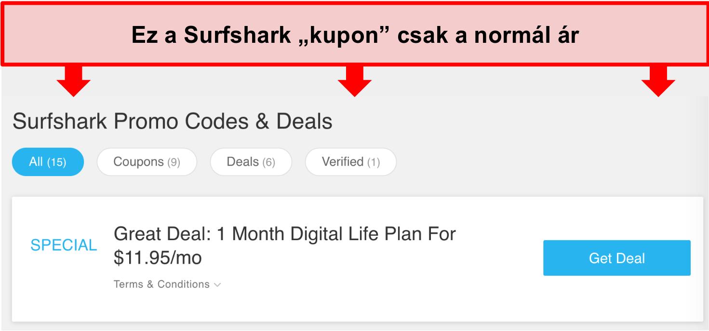 Pillanatkép a hamis Surfshark promóciós kódokról és ajánlatokról