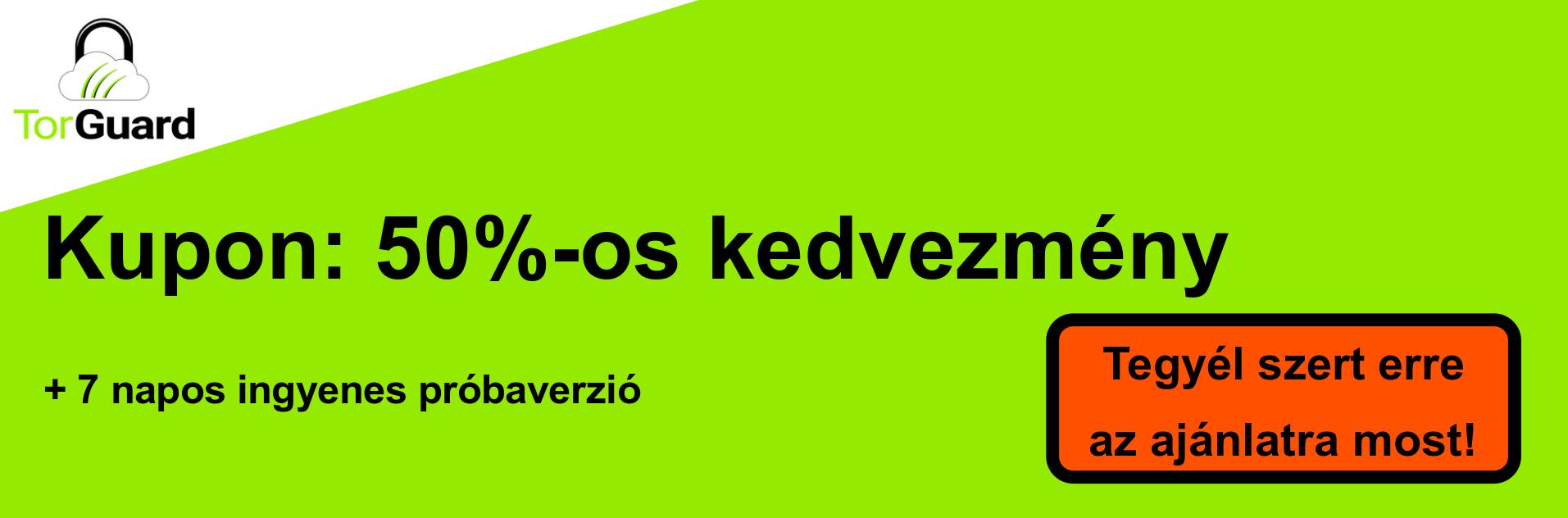 TorGuard VPN szelvény banner - 50% kedvezmény