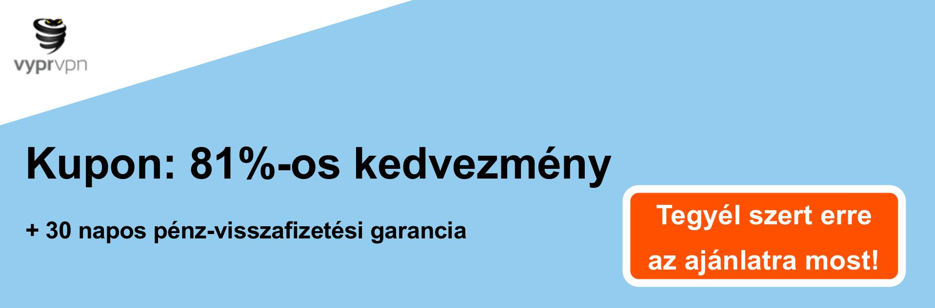 Vypr VPN szelvény banner - 81% kedvezmény