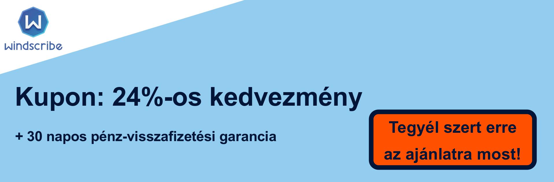 WindScribe VPN szelvény banner - 24% kedvezmény