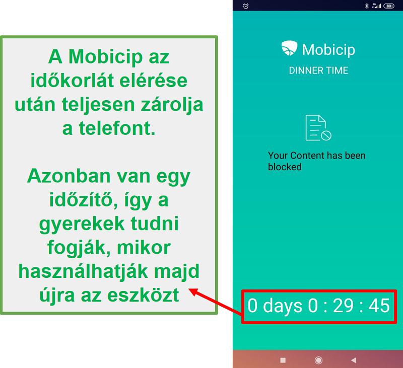 A Mobicip blokkol egy eszközt