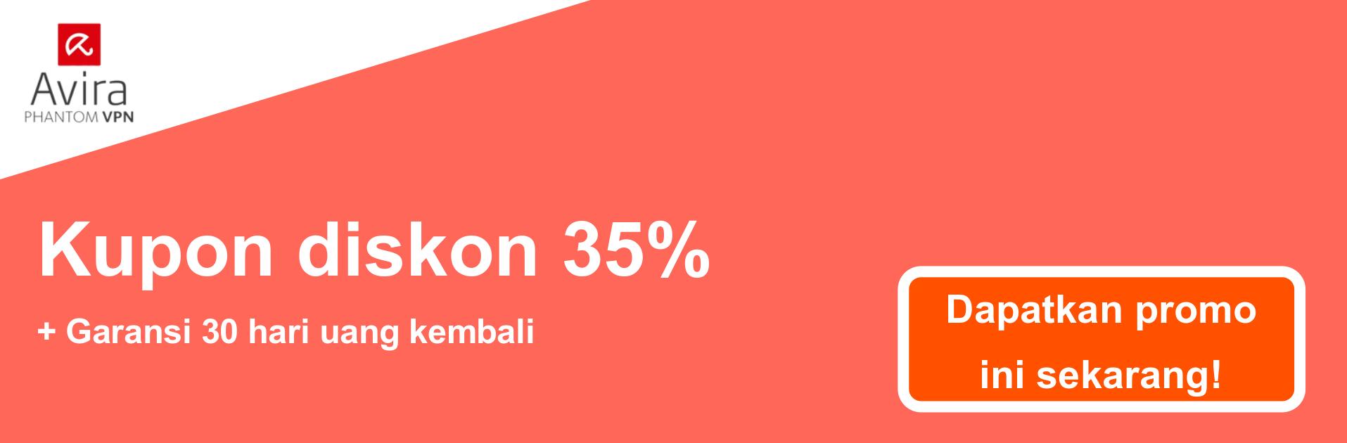 Spanduk kupon AviraVPN - diskon 35%