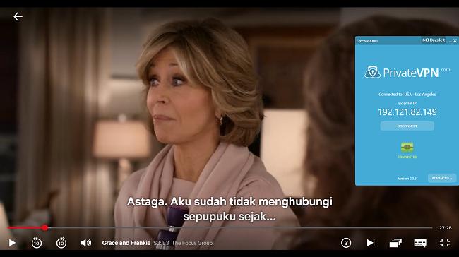 Tangkapan layar PrivateVPN yang terhubung ke server AS dengan Grace dan Frankie streaming di Netflix AS