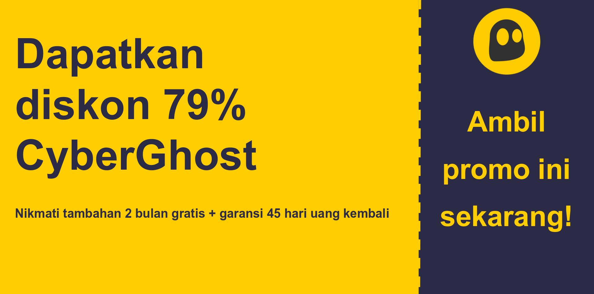 grafik spanduk kupon utama CyberGhostVPN yang menunjukkan diskon 79%