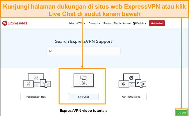 Cuplikan dari dukungan obrolan langsung ExpressVPN.