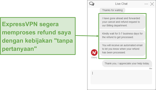 Tangkapan layar dari pengembalian dana obrolan langsung ExpressVPN sedang diproses