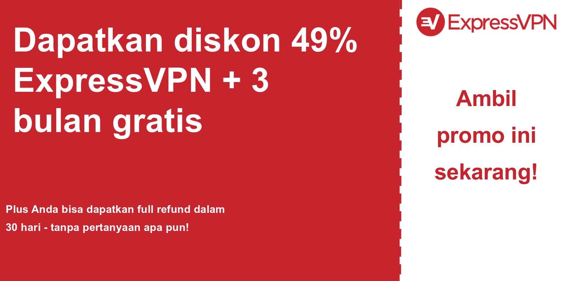 grafik banner kupon utama ExpressVPN yang menunjukkan diskon 49%