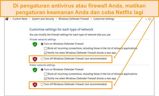 Tangkapan layar pengaturan firewall dan keamanan.