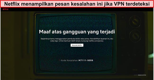 Cuplikan layar pesan kesalahan Netflix saat menggunakan VPN, proxy, atau unblocker - Kode Kesalahan: M7111-5059
