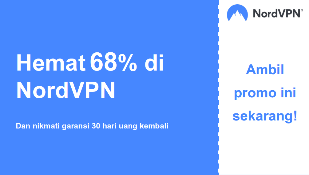grafik spanduk kupon utama Nordvpn yang menunjukkan diskon 68%