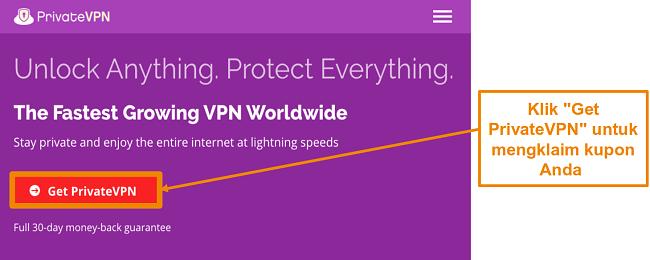 Cuplikan layar beranda PrivateVPN a