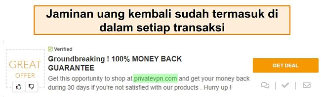Jepretan kupon PrivateVPN yang mengiklankan jaminan uang kembali sebagai