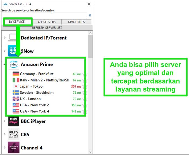 Tangkapan layar opsi server streaming untuk PrivateVPN