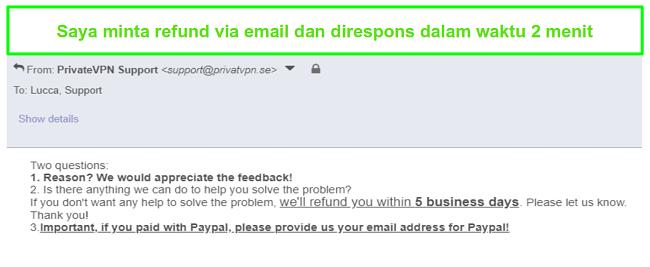 Cuplikan dari PrivateVPN menanggapi dengan cepat permintaan pengembalian dana melalui email