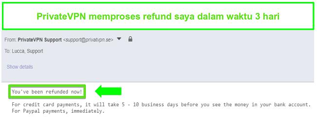 Cuplikan dari tanggapan PrivateVPN setelah pengembalian dana diproses
