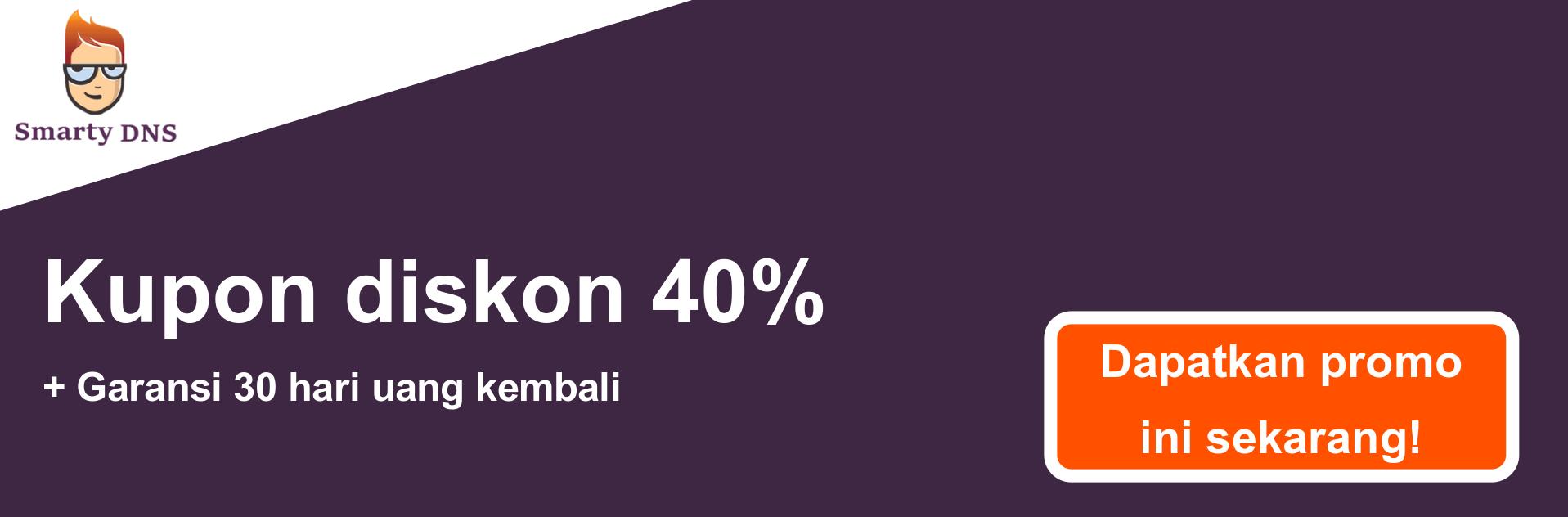 Spanduk kupon SmartyDNS - diskon 40%