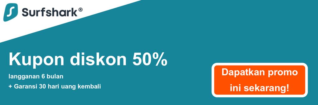 Grafik spanduk kupon Surfshark yang menunjukkan diskon 50%